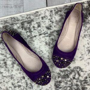 Vince Camuto Evella studded suede purple flats